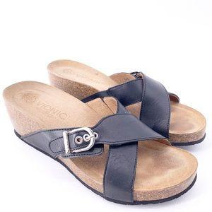 Vionic Danette Leather Crisscross Wedge Sandal